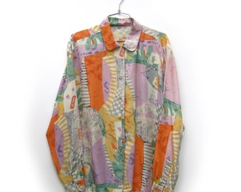 Vintage Abstract Graphic Button Down Blouse