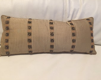 Hand  made embroidered pearls, luxury Kantha, gold, beige  poly silk decorative  accent pillow