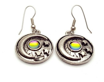 Moon and Star with Holographic Jewel Hippie Earrings Vintage from the 90s Bohemian