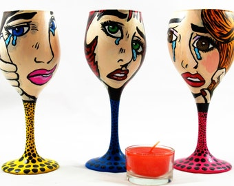 cry girls pop art hand painted candle holder set of 3