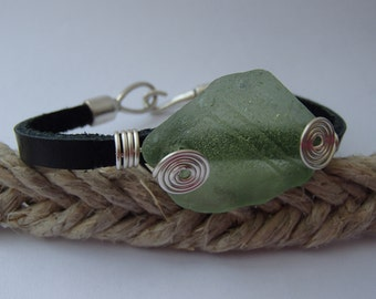 Sea glass wire-wrapped leather bracelet