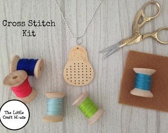 Cross Stitch Kit // Babushka Pendant // Make Your Own // DIY // Gift // Craft Kit