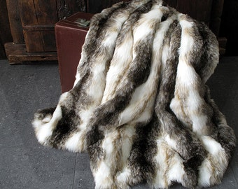 Italian Wolf Faux Fur Throw for Bed or Sofa with ivory faux-suede lining in a range of sizes