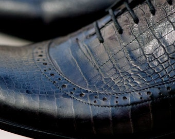 """Black natural leather man classic shoes """"alligator"""""""