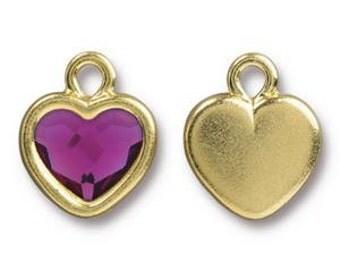 TierraCast Heart Drop with Swarovski Crystal ~ Fuchsia ~ Bright Gold