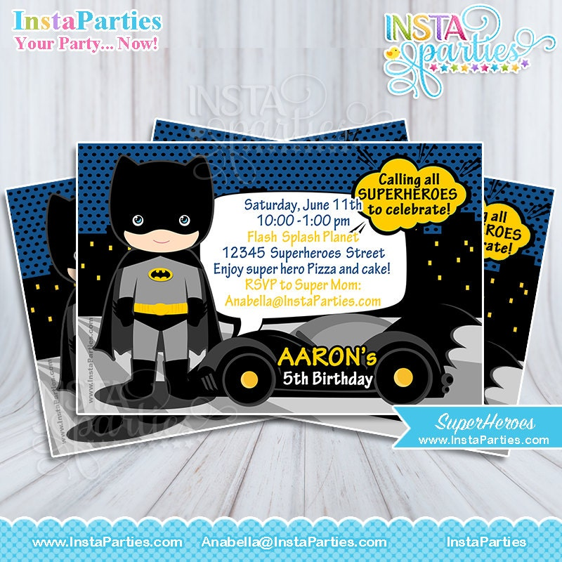 Invitaciones Batman Superhéroe bebe niño invitación tarjeta