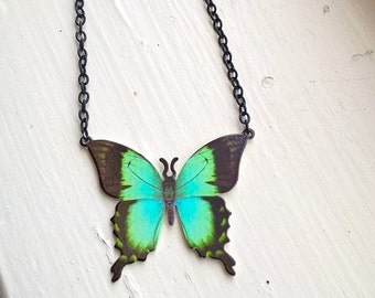 Teal Butterfly Pendant necklace