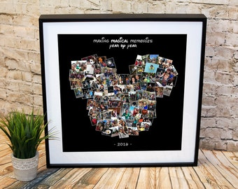 Custom Mickey Mouse Photo Collage, Custom Disney Photo Collage, Mouse Ears Photo Collage