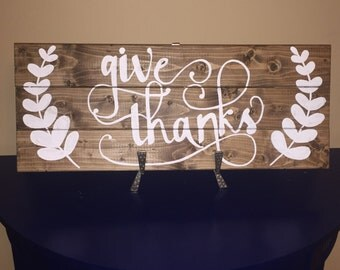 Give Thanks pallet sign l fall decor, rustic fall decor, Thanksgiving sign,
