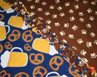 Beer and Pretzel Themed No-Pill Fleece Tie Fringe Blanket