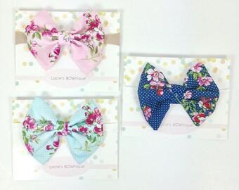 Baby bows, headband, baby, nylon headband, floral bow