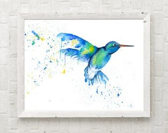 Blue Hummingbird Watercolor Print - Unframed Glicee Print, colorful home decor, nursery art