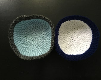 Large Handmade Crocheted Bowls (Blue, Gray, White)