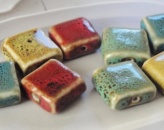 Porcelain Square Beads   15mm  Asst Colors   Mustard, Blue, Sage Green & Red