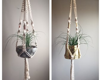 "60"" Large Macramé Plant Hanger ""Elegant Simplicity"" Bulky Chunky Natural White Boho Hippie Decor Retro 70s Plants Thick Copper Beads Planter"