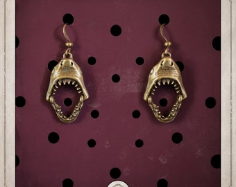 JAWS earrings bronze shark teeth of the horror sea nautical steampunk BOB037