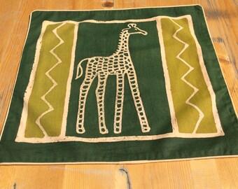 Batik-Kissenbezug-Giraffe grün 40x38,5 cm