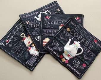 Coffee House Mug Rugs Oversized Coasters Small Placemats Quilted Mug Rugs Quilted Placemat Set Mug Rug Set Mug Mat Coffee Theme Tea Theme