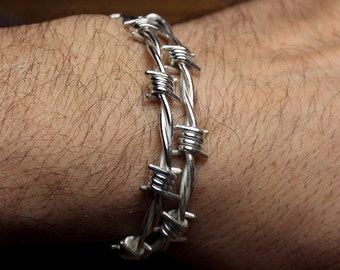 Barbed wire bracelet for men , SIZE 8.0 to 8.5 inches .