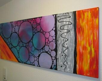 XXL image abstract acrylic painting purple blue grey orange 160 x 60 cm