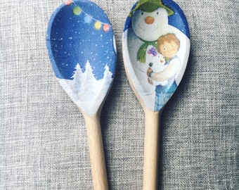 Mr Snowman Wooden Spoons x2