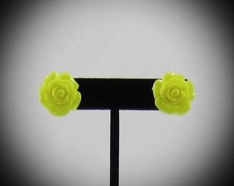 Large Yellow Rose Resin Earrings