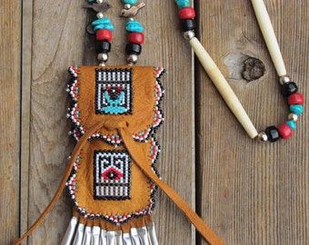 Native American Beaded Deer Hide Pouches Beaded Leather Pouches Beaded Pouches Neck Pouch Necklace Pouch