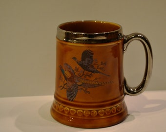 Vintage 1970, Lord Nelson Pottery Beer Mug,  Made in England, Pheasant Scene