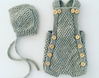 Hand knitted newborn romper and bonnet set