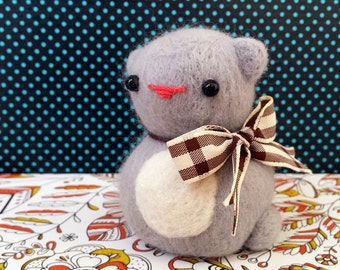 Needle Felted Grey Cat with Bow