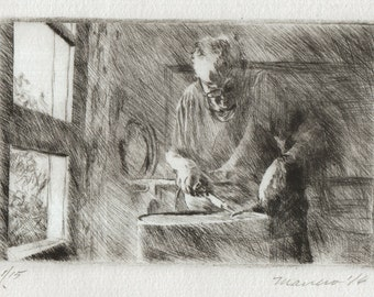 """Signed Original Drypoint Print (similar to etching): """"The Master Soldering"""" Master Craftsman Soldering 4x6"""" cotton paper by Onelio Marrero"""