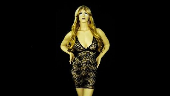 Stripperwear Exotic dancewear Black Rose Lace Dress very Stretchy