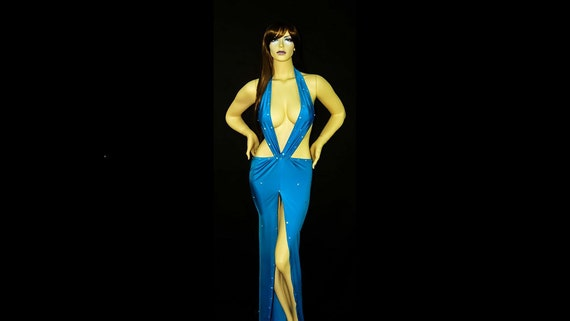 Exotic Dancewear Stripper Gown Sparkly Turquoise Blue and Thong lycra/spandex