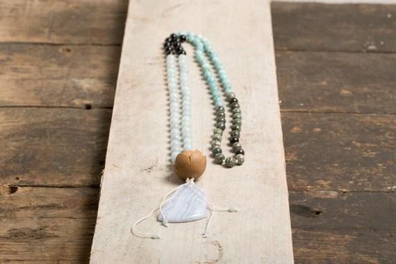 Mala necklace traditional blue Agate - chalcedony - Onyx - Opal - African Jasper
