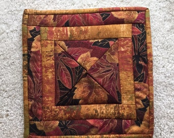 Candle holder, Quilted candle mat, quilted candle holder, Autumn mat, Autumn candle mat, Autumn coffee cup mat
