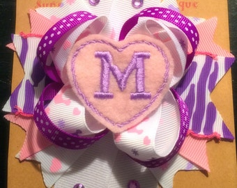 Big bow Monogram personalized hair bow, pink and purple princess bow, daddys little princess, mommys princess bow zebra bow headband