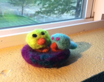 Two Exotic Felted Birds