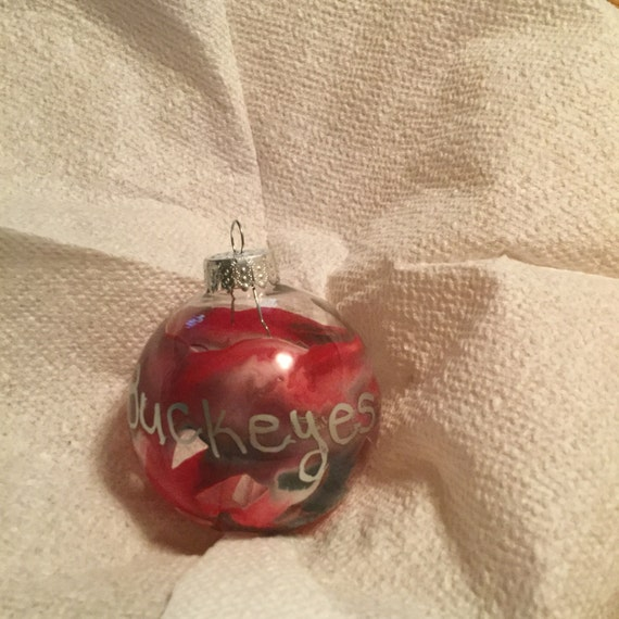 Red, gray and white 2in glass Ohio State ornament