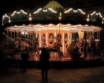 Merry Go Round at Night Photographic Print
