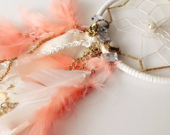 "5"" Dreamcatcher - White & Flamingo Fashion Inspired"