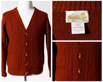 Vintage Men's Cardigan Sweater - 80s La Collina Retro Medium M