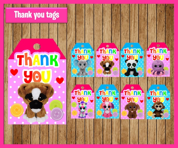 Beanie Boo thank you tags instant download, Printable Beanie Boo party thank you tags, Beanie Boo tags
