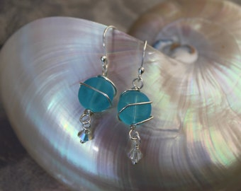 Beach glass frosted sterling silver wrapped earrings