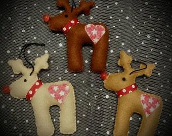 Set of 3 Felt Reindeer Christmas decorations