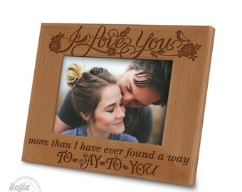 I love you picture frame -I love you more picture frame - Engraved Natural Wood Picture Frame - Free Gift Boxed and Ready to Give