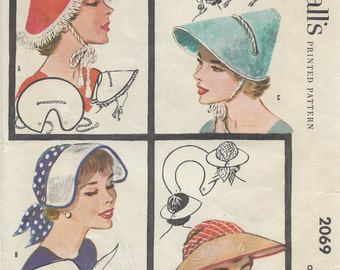 1956 Vintage Sewing Pattern HAT ONE SIZE (1145) McCall's 2069