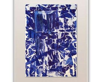 Giclée Print, Ink Blue Abstract Painting