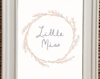 Gray And Light Pink Nursery, Nursery Wall Art, PRINT, Baby Girl Gift, NURSERY DECOR, Little Miss