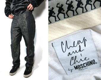MOSCHINO Men's Linen Metallic Pant 36 W