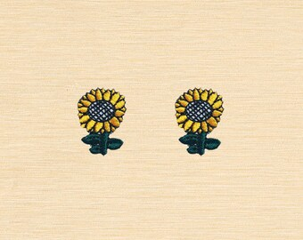 Set of 2 pcs Mini Sun Sunflower Flower Iron On Patches Sew On Appliques
